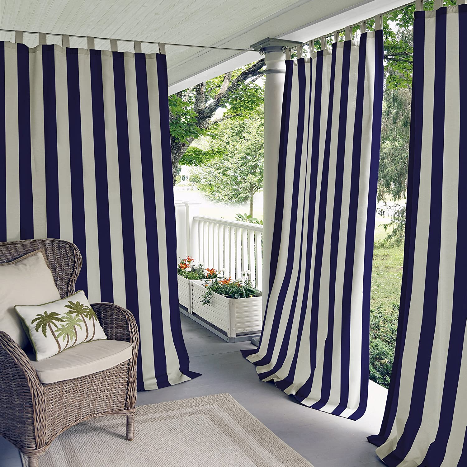 Elrene Home Fashions 026865874471 Indoor/Outdoor Tab Top Stripe Single Panel Window Curtain Drape, 50x84, Navy 50x84