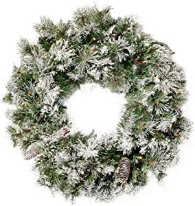 "Christopher Knight Home 307397 24"" Mixed Spruce Christmas Wreath w/50 Warm White LED Lights, Flocked Snow and Glitter Branches, Pinecones - Battery-Operated, Timer Included, Green"