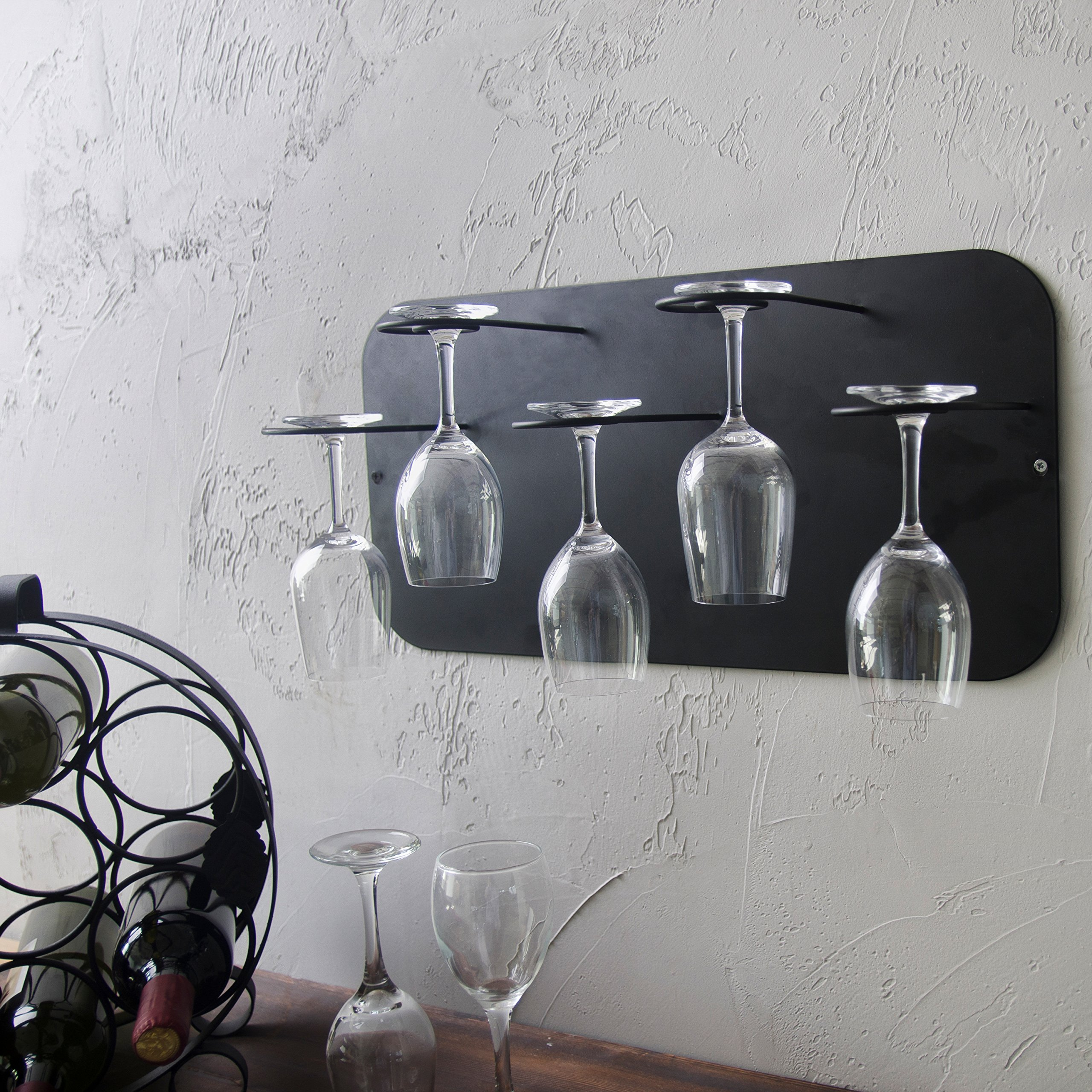 MyGift Metal Wall Mounted Stemware Rack for 5 Wine Glasses