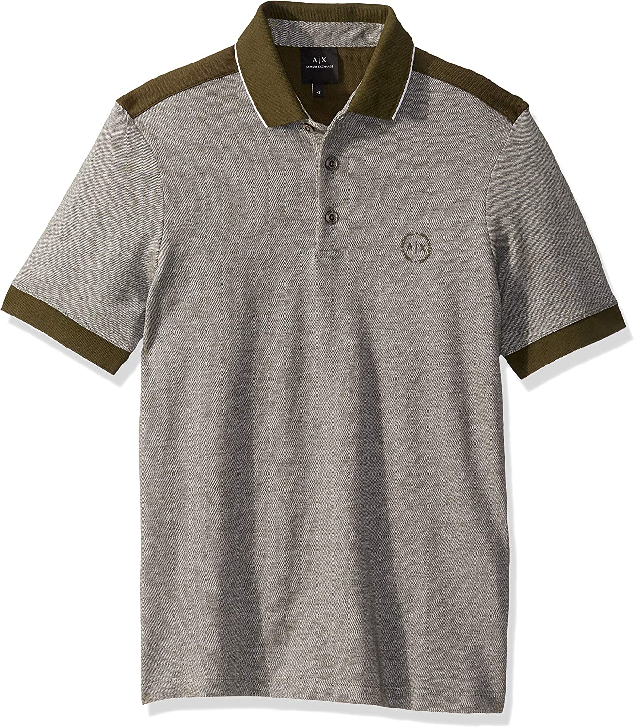 AX Armani Exchange Men's Short Polo Shirt with Stripes on Sleeve