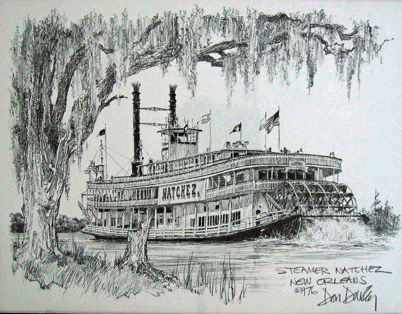 Amazon Steamer Natchez Don Davey New Orleans Matted Art Print