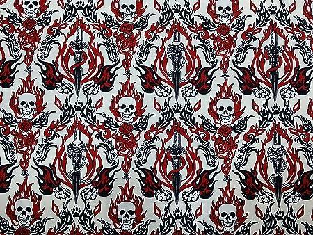 Calavera//huesos cruzados Tela Goth 100/% algodón