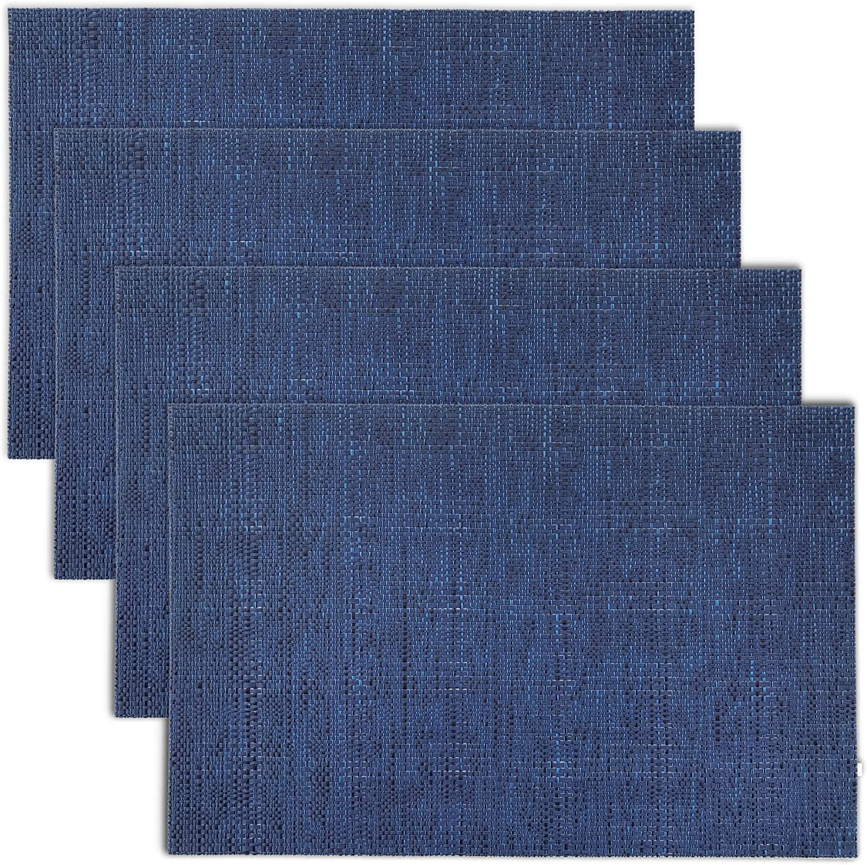 CAIT CHAPMAN HOME COLLECTION Texture Design Woven PVC Placemat (Navy), Set of 4