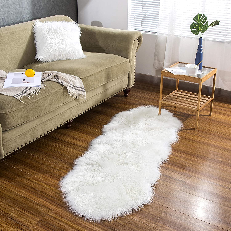 Als Faux Bett-Vorleger oder Matte f/ür Stuhl Sofa Wohnzimmer Schlafzimmer Kinderzimmer Lammfell-Teppich Kunstfell Schaffell Imitat Dunkelgrau - 55 x 80 cm