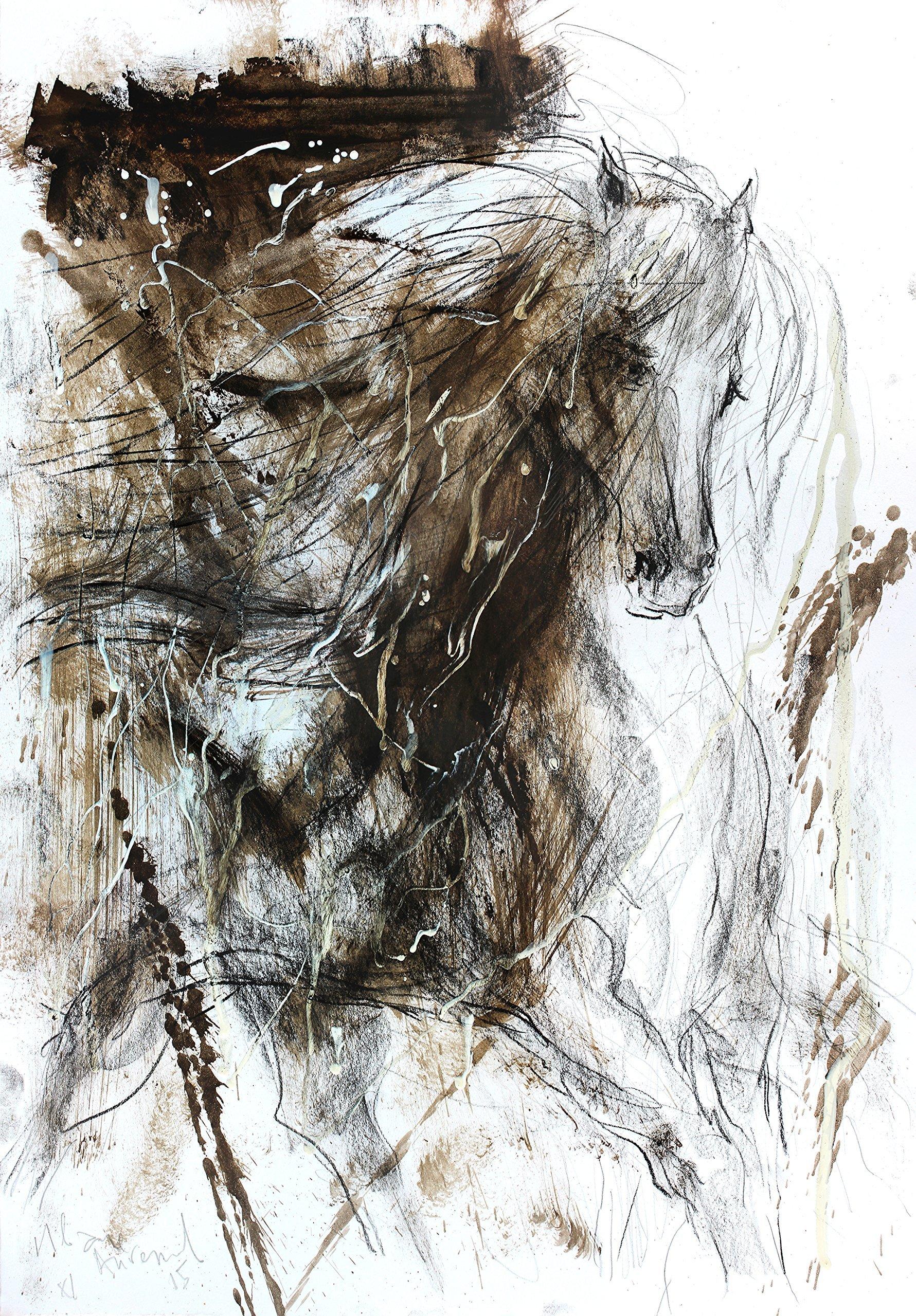 20 x 14 Original horse art sketch Artistic wall art Modern drawing Animal art