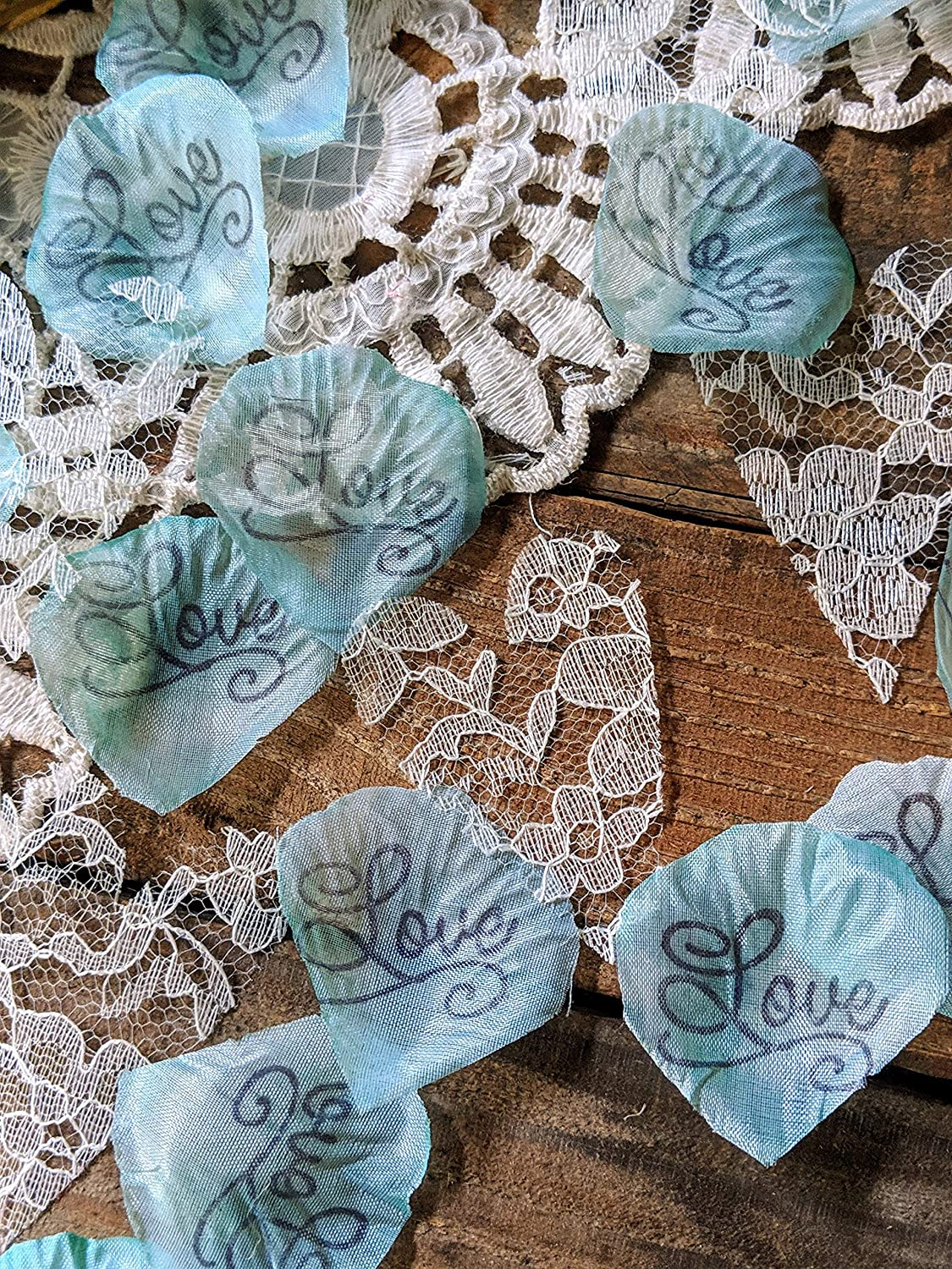 Rose Petals and Flower Confetti Toss for Wedding or Bridal Shower Table Runner Centerpiece Lace