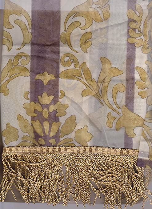 Amazon Com Jcpenney Home Collection Darien Imperial Sheer Valance Gold Silver Everything Else