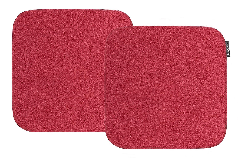 Magma-Heimtex avaro Sedia Cuscino feltro imitazione 2'er di set quadrato ca. 35x 35cm (rosso) Magma Heimtex