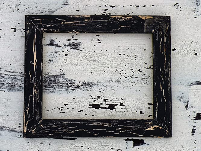 Amazon.com: Handmade Rustic Black Crackle Frame, Distressed Wood ...