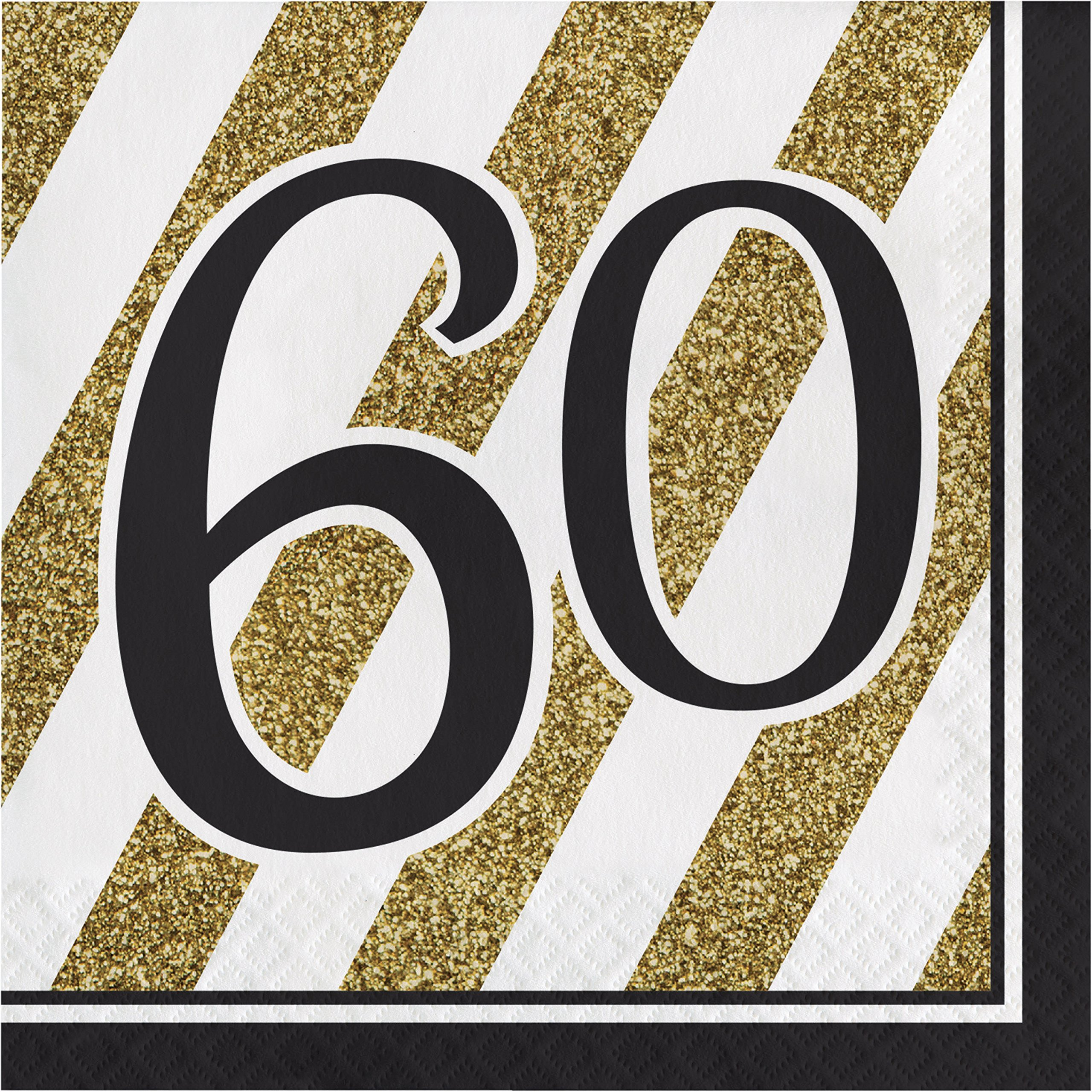 Black and Gold 60th Birthday Napkins, 48 Count