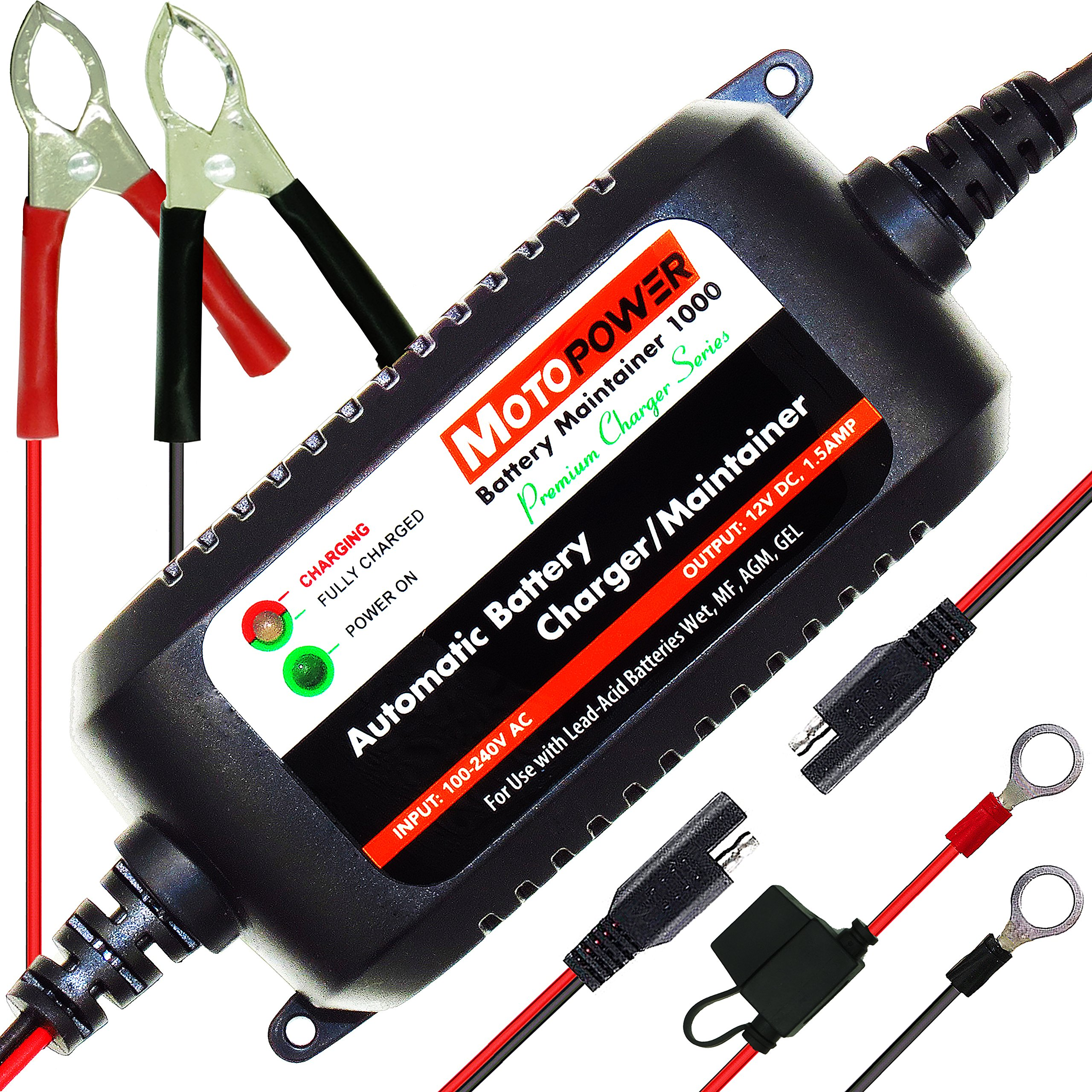 MOTOPOWER MP00206A 12V 1.5Amp Fully Automatic Battery Charger/Maintainer  for Cars, Motorcycles, ATVs, RVs, Powersports, Boat and More.