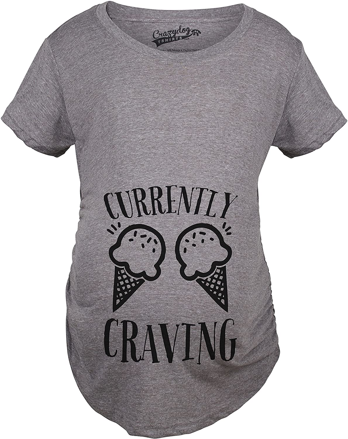 Maternity Currently Craving Ice Cream Funny Pregnancy Announcement T Shirt Crazy Dog Tshirts