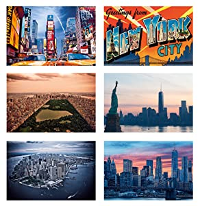"""New York Magnets for Refrigerator- Set of 6 Double-Sided Magnets with great print quality on both sides and interesting NY facts on back side. 3"""" x 4.5"""". Made in USA"""
