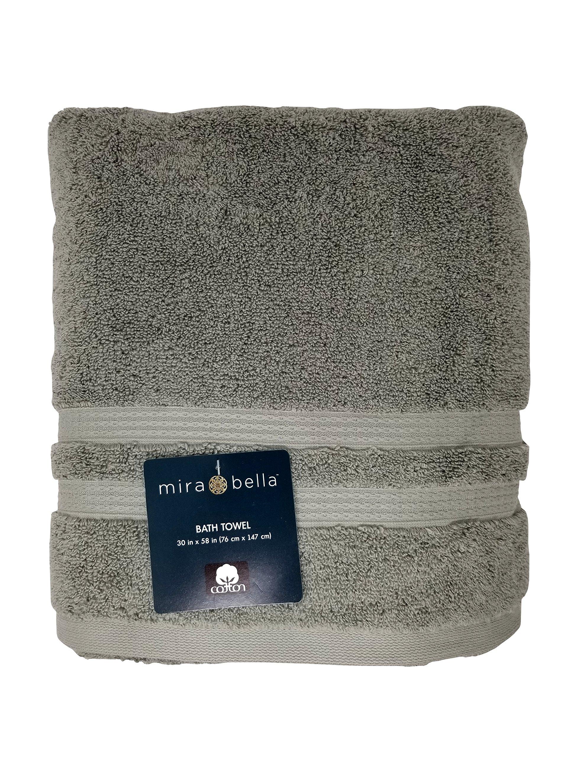 Mira Bella Cotton Bath Towel 30'' x 58'' Made in India - Grey