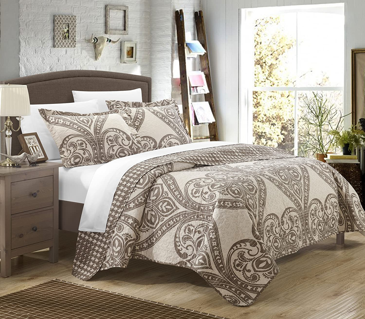 Chic Home 2 Piece Napoli Reversible Printed Quilt Set, Twin, Beige