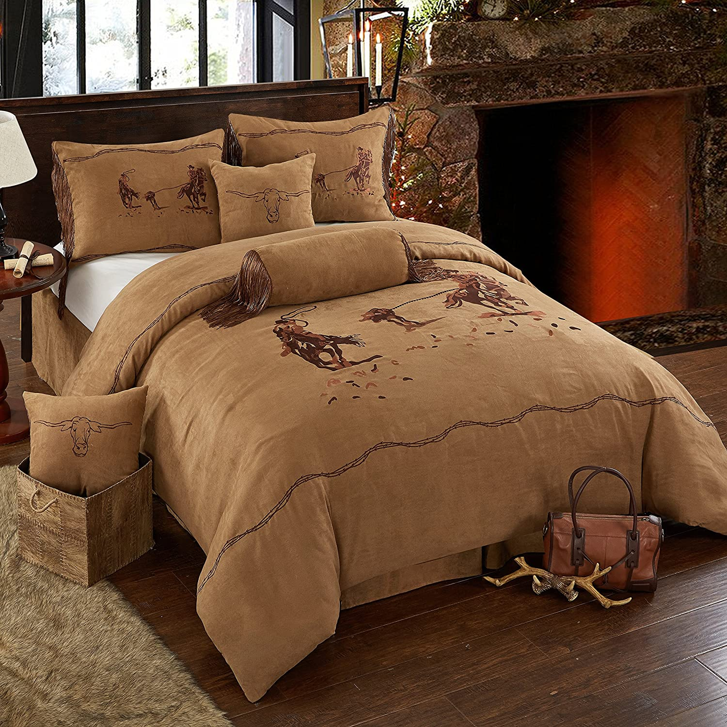 Beautiful Luxury Rustic Embroidery Cowboy Horse Rider With Barbed Wire Border Western Cabin Style Lodge Oversize Micro Suede Comforter Set in Brown Bedding With Decorative Pillows (King)