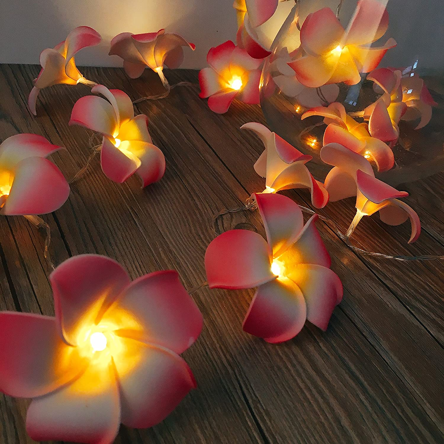 Amazoncom Acelist 20 Led String Light Hawaiian Foam Artificial Plumeria Flower