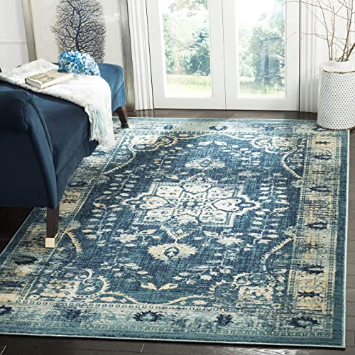 Safavieh Evoke Collection EVK509A Vintage Distressed Oriental Navy and Gold Area Rug 4 x 6