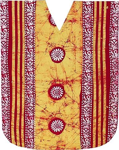 LA LEELA Mujeres Caftán Algodón túnica Batik Kimono Libre tamaño Largo Maxi Vestido de Fiesta para Loungewear Vacaciones Ropa de Dormir Playa Todos los días Cubrir Vestidos AG