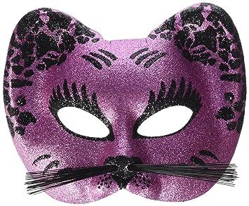 Ptit clown 60015 - Máscara de gato, tejido con lentejuelas, color rosa