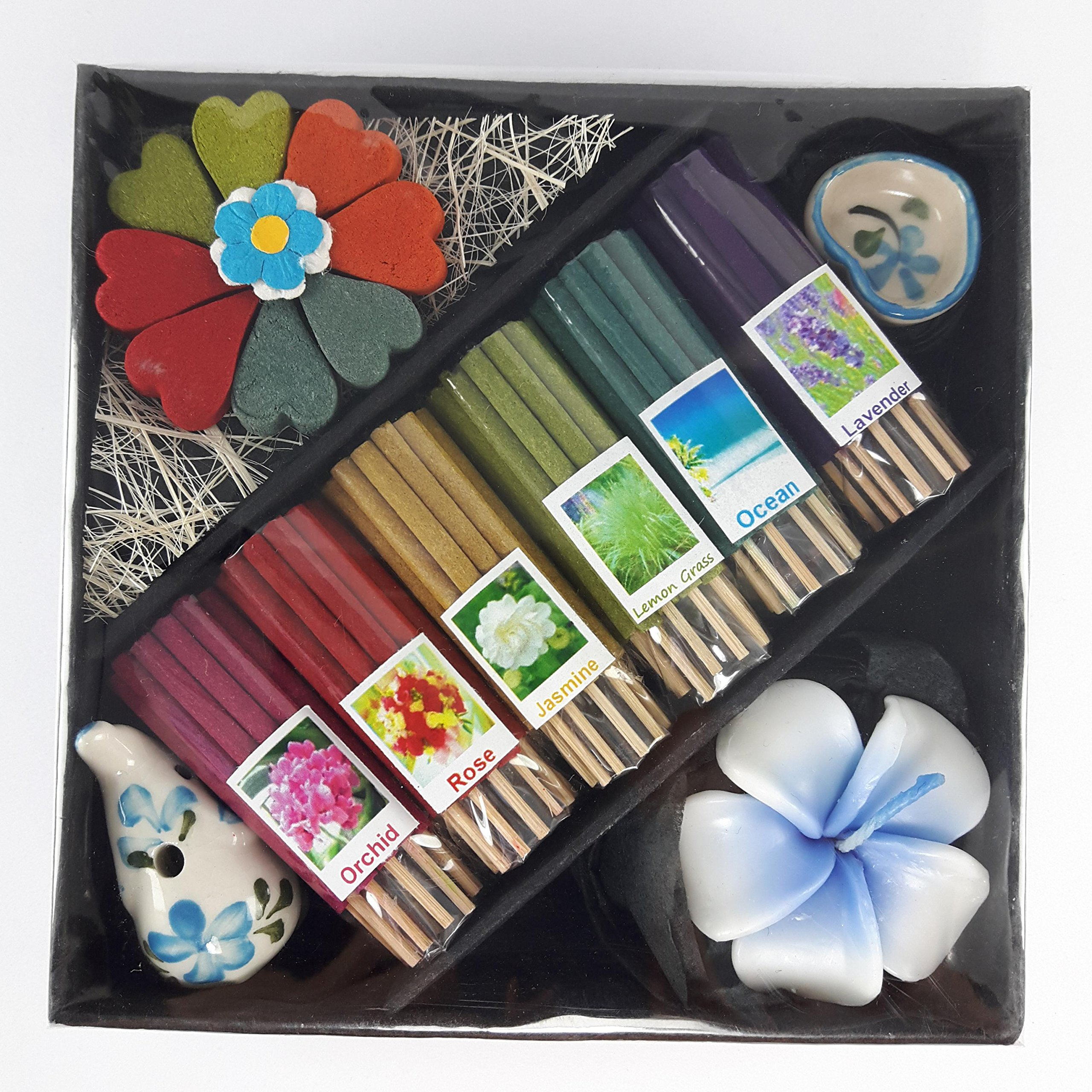 kornkorn87 Thai Mix 6 Scent Relax Sticks Incense Spa Aroma Fragrance Cones Burner Ceramic Holder