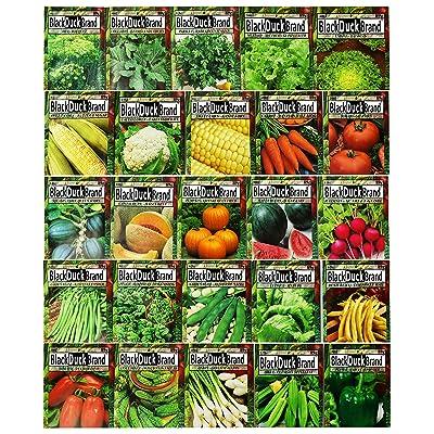 Set of 25 Premium Vegetable & Herb Seeds - 25 Deluxe Variety Premium Vegetable & Herb Garden 100% Non-GMO Heirloom : Garden & Outdoor