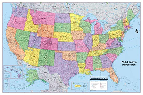 United States Wall Map Amazon.: CooolOwlMaps United States Wall Map Poster 36