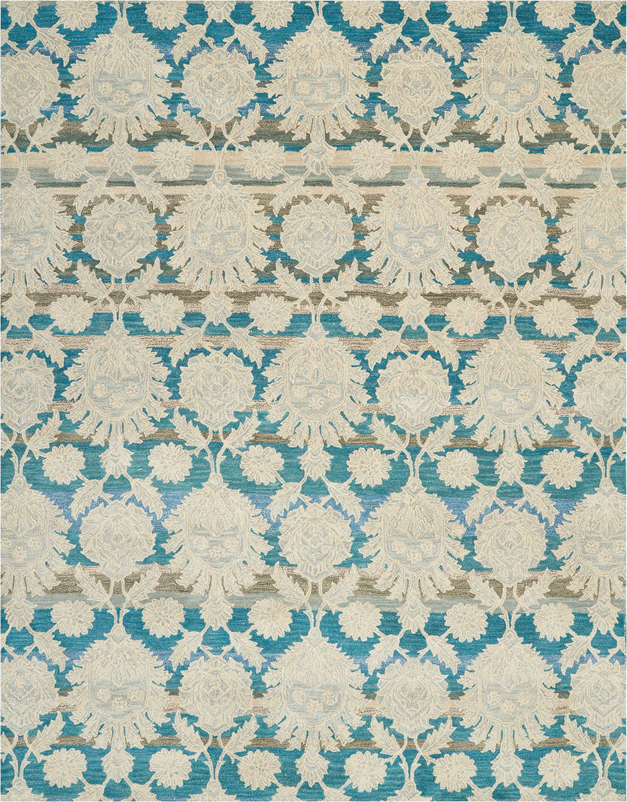 Nourison IH91 India House Area Rug, 8'X10'6'', IVORY/TEAL