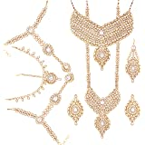 I Jewels Traditional Gold Plated Bridal Dulhan Jewellery Set, Choker, Long Haar, Earrings, Haathpanjas, Paasa and Damini For Women (White)(BLP001W)
