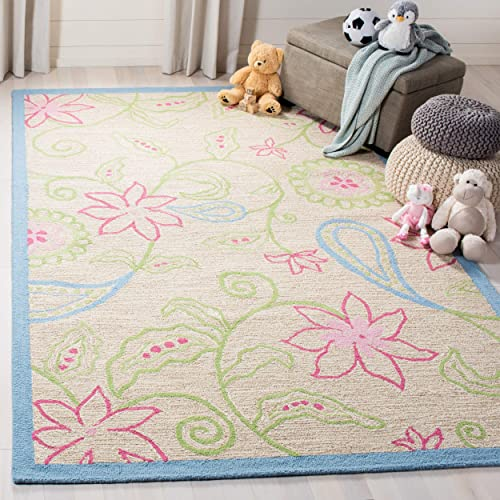 Safavieh Safavieh Kids Collection SFK362A Handmade Ivory and Blue Cotton Area Rug 6 x 9
