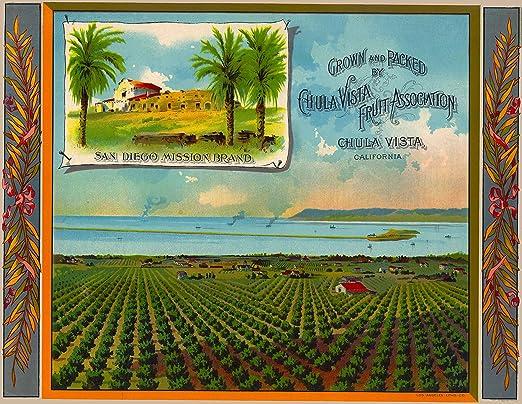 Chula Vista San Diego Mission Orange Citrus Fruit Crate Label Art Print