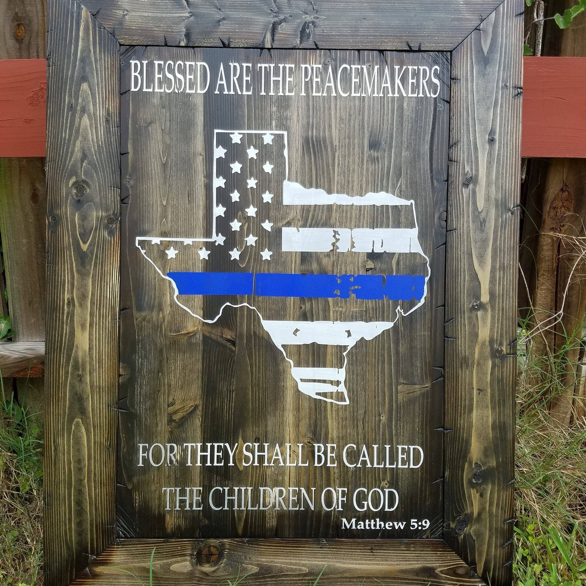 17''x23'' Texas Blessed are the Peacemakers Sign (Framed)