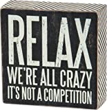 Primitives by Kathy Chevron Trimmed Box Sign, 5-Inch, We are All Crazy