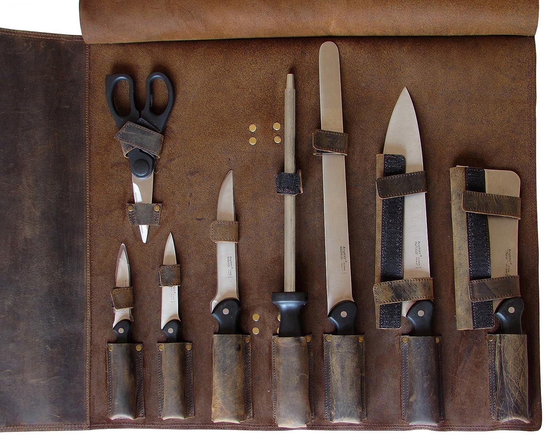 One Leaf Beduin X Leder Messer Rolle Koch Tasche KR1a Messing Farbe Wölbung