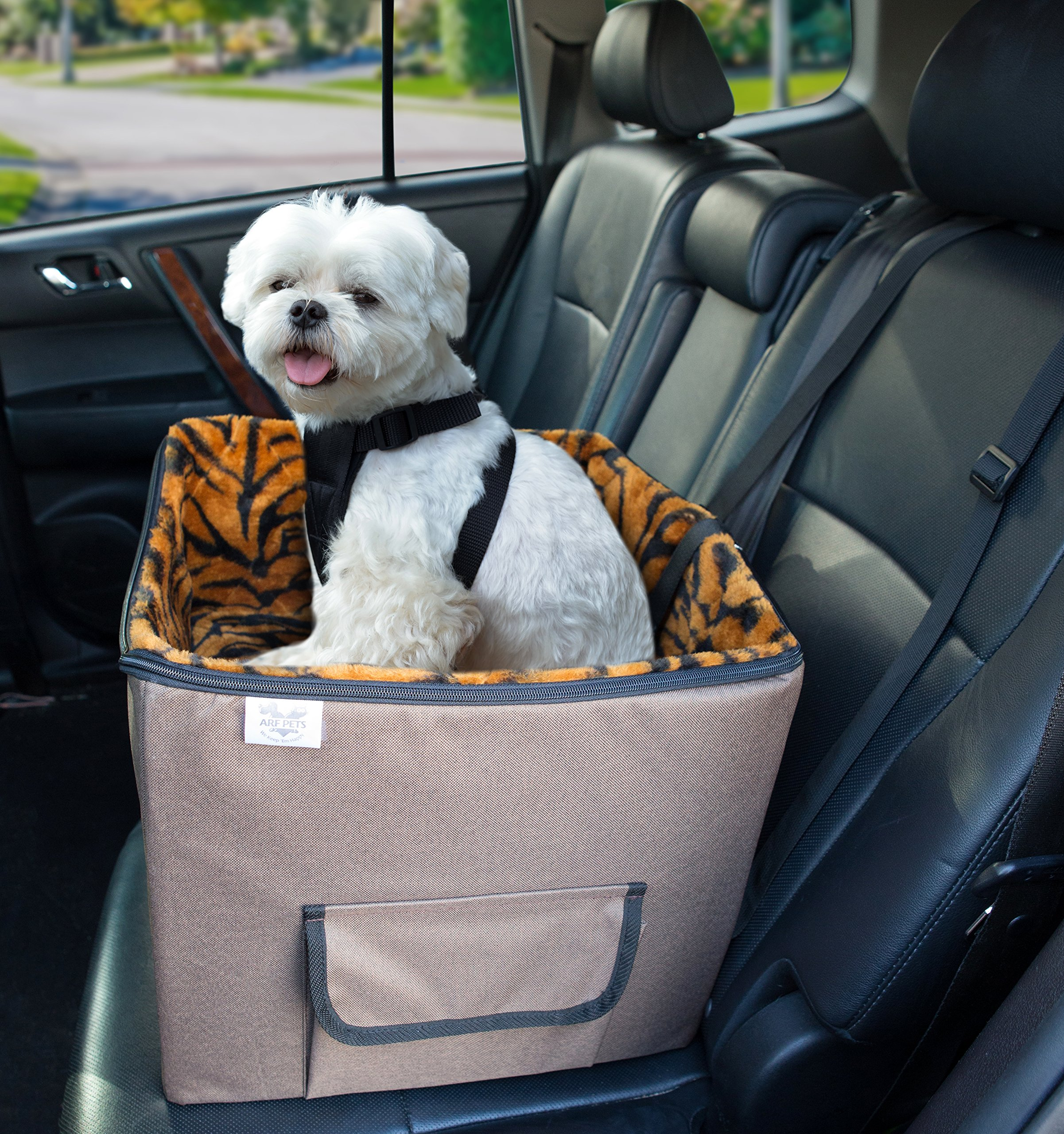 Arf Pets Pet Car Seat, Dog Booster Safety Seat with Adjustable Straps, Solid Foam Base, Includes Attached Tether Strap, Plush, Washable Lining by Arf Pets