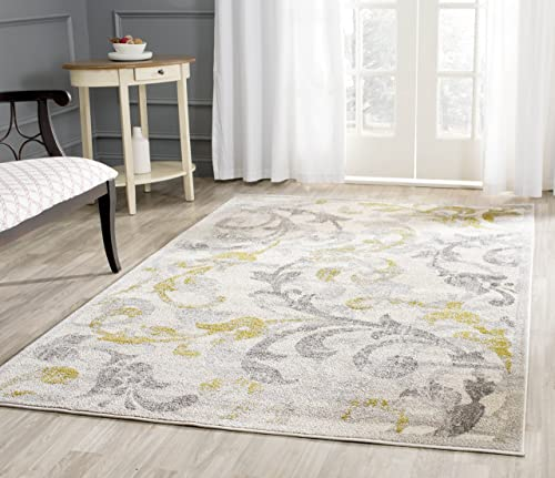 Safavieh Amherst Collection AMT428E Floral Scroll Area Rug, 3 x 5 , Ivory Light Grey