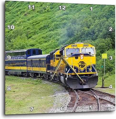 3dRose Railroad Train Runs Through Beautiful Scenery Between Anchorage and Seward Alaska-Wall Clock, 10-inch DPP_45613_1