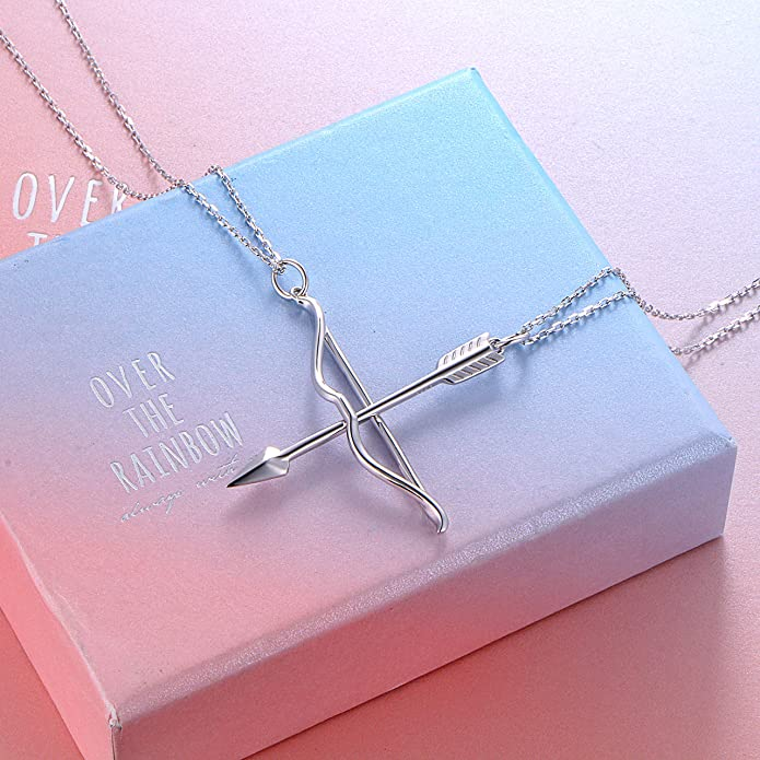 4623e1e52e Amazon.com: S925 Sterling Silver Mens Womens Bow Arrow Couple Lovers  Valentine Pendant Bff Friendship Best Friend Necklace Matching: Jewelry