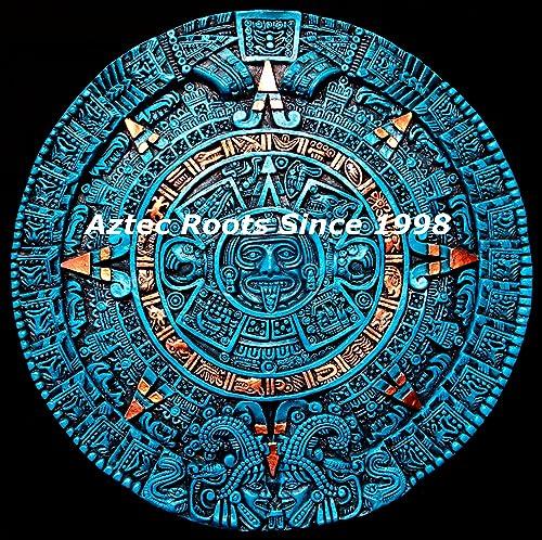 16″ Aztec Maya Mayan Solar Sun Stone Calendar Statue Sculpture Wall Plaque Xiuhpohualli Tonalpohualli Mesoamerican Mexican Mexico Ancient Aliens Chariots of the Gods Art 005