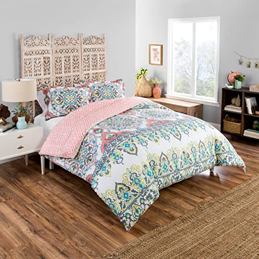 Amazon.com: Boho Boutique Rozella Comforter Set, Twin Extra Long, Coral: Home & Kitchen
