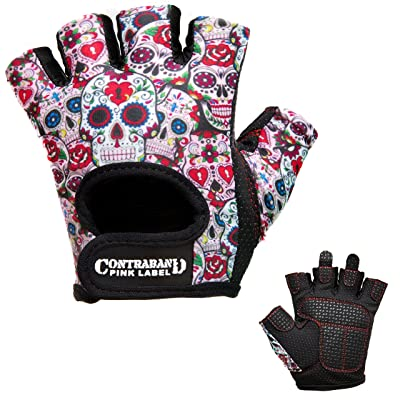 Contraband Pink Label 5237 Womens Design Series Sugar Skull Lifting Gloves
