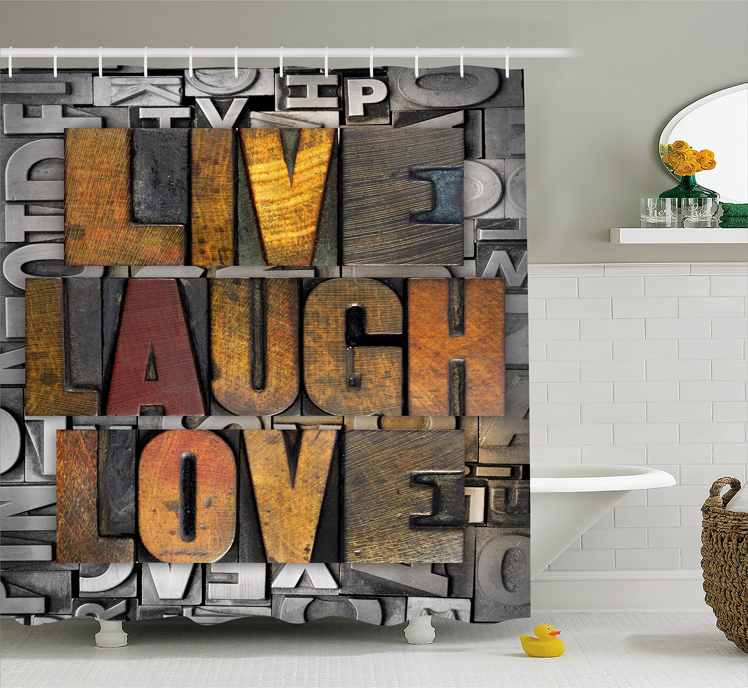 Ambesonne Live Laugh Love Shower Curtain, Saying Promoting The Sacred Values of Human Life in Colorful a Pattern, Cloth Fabric Bathroom Decor Set with Hooks, 70 Inches, Multicolor
