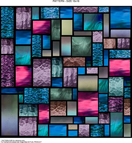 Windowpix 36×60 Inch Decorative Static Cling Film Lavender Stained Geometric Medley Printed on Clear for Window Glass Panels. UV Protection, Energy Saving