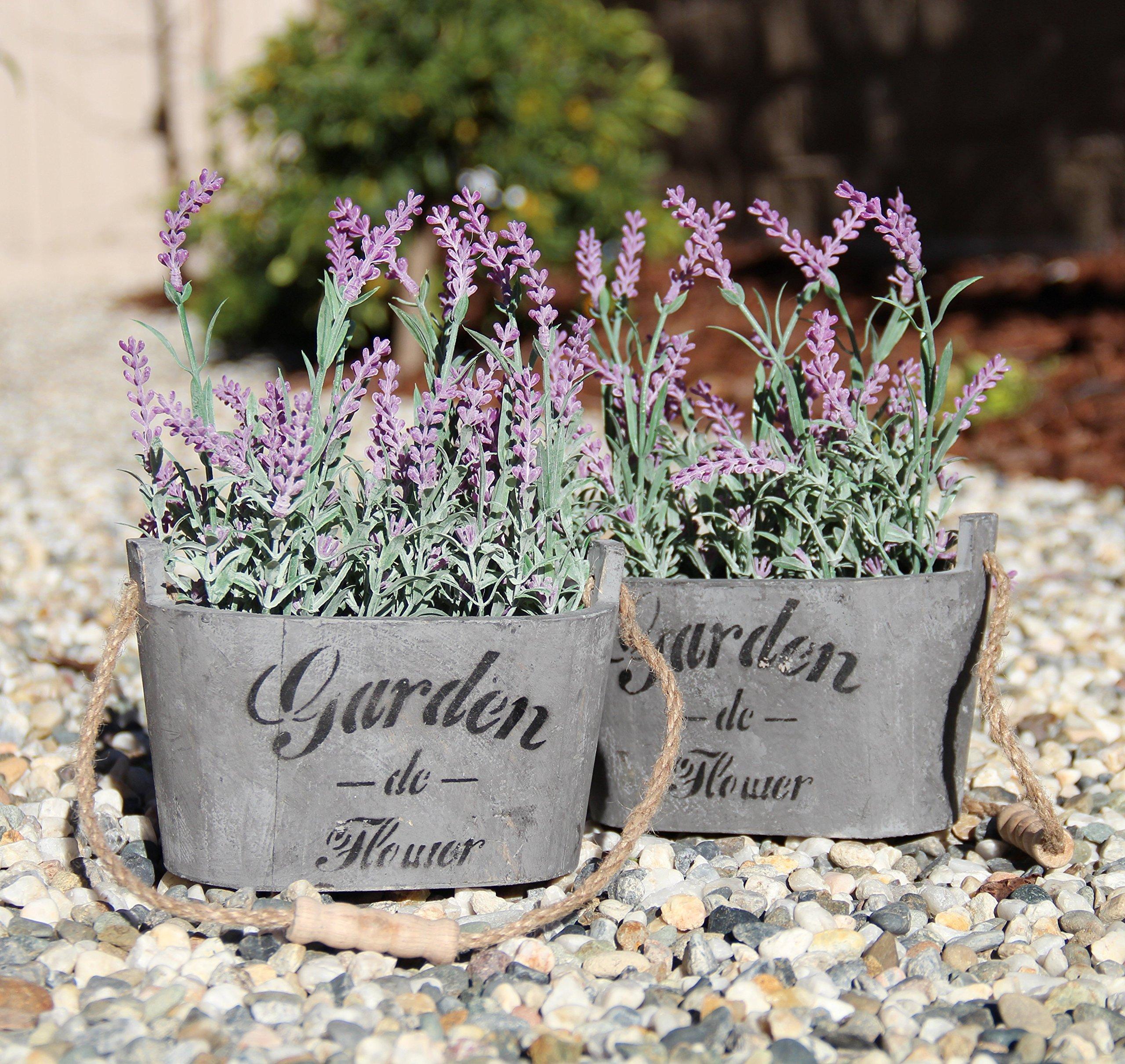Heart To HeartButterfly Craze Purple Silk Floral Arrangements Faux Lavender Flower Plant Home Office Décor 2 Pc Set – with Grey Vases