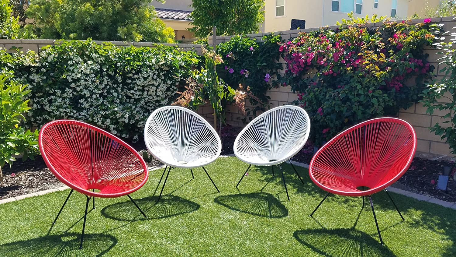 Acapulco Chair Indoor Outdoor Lounge Chair Weave Patio Chair All Weather Outdoor Patio Sun Oval Chair,Red,4 Piece Set