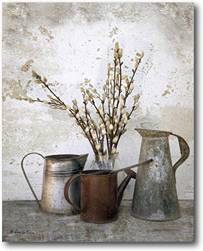 Courtside Market Farmhouse Three Watering Cans 20″x24″ Gallery-Wrapped Canvas Wall Art