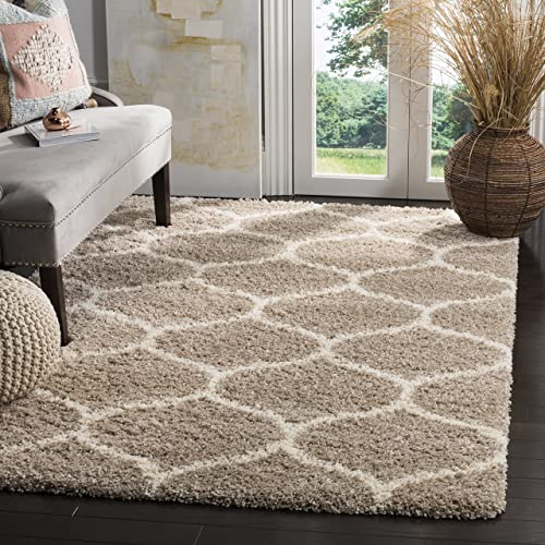 Safavieh Hudson Shag Collection SGH280S Moroccan Ogee Plush Area Rug, 11 x 15 , Beige Ivory