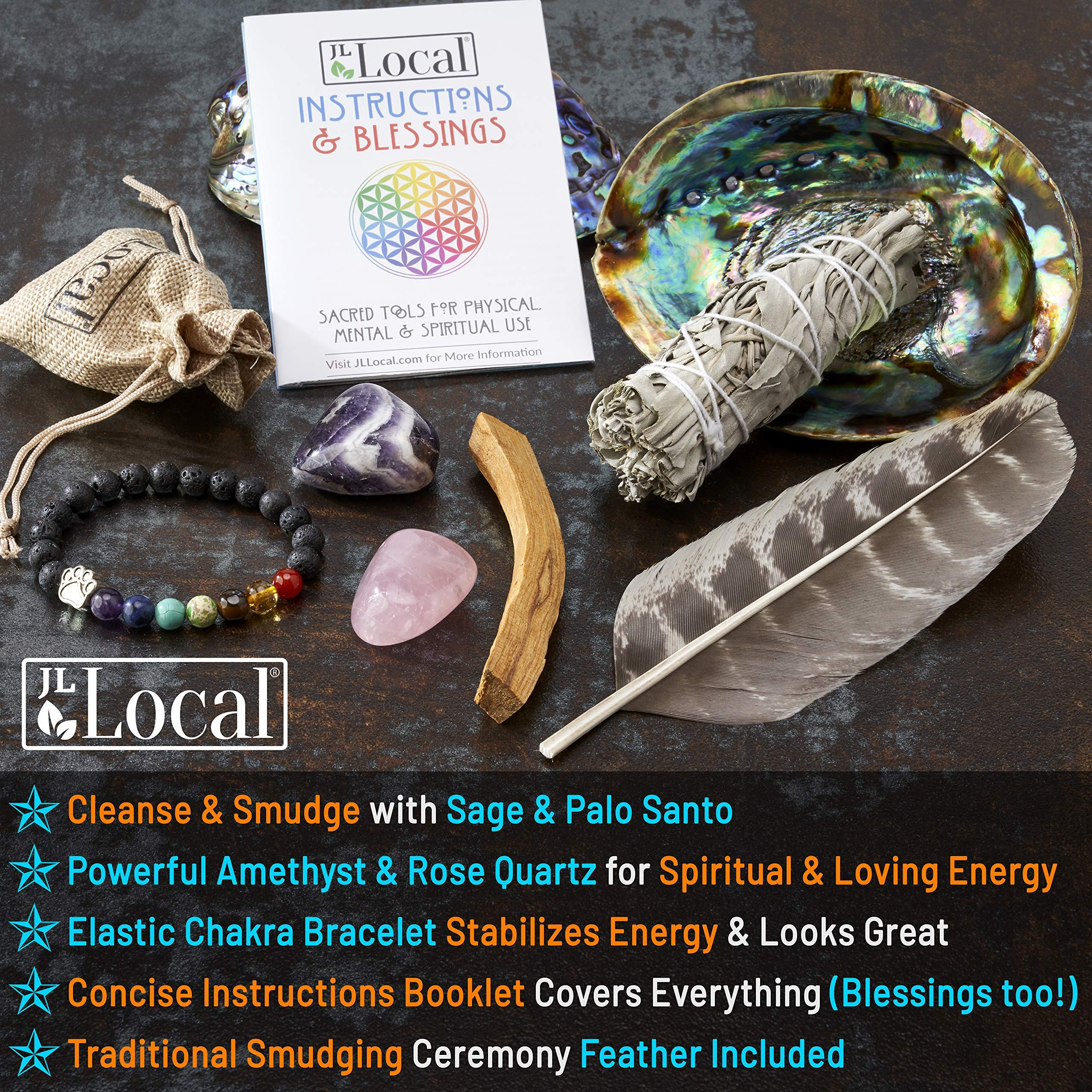 JL Local Chakra Smudging Kit - 10 Items Including White Sage Smudge Sticks, Palo Santo, Amethyst, Rose Quartz, Abalone Shell, Stand & Gift by JL Local (Image #3)