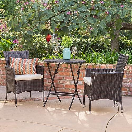 Dorchester 3 Piece Wicker Outdoor Bistro Set w Beige Cushions in Multibrown