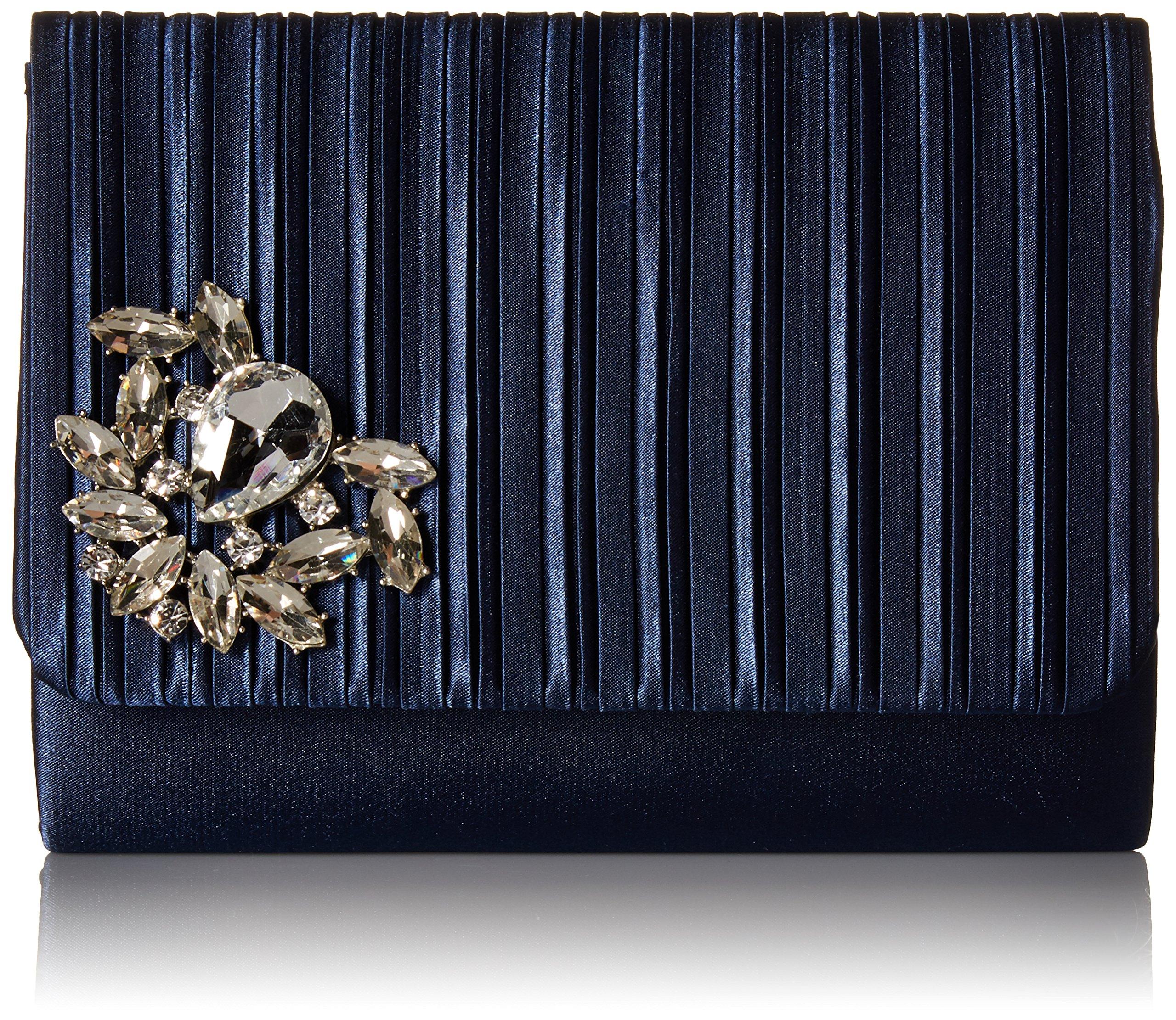 Jessica McClintock Katie Pleated Flap Evening Clutch Shoulder Bag, Navy